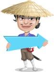 Samurai with Straw Hat Cartoon Vector Character AKA Akechi - Pointer 2