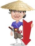 Samurai with Straw Hat Cartoon Vector Character AKA Akechi - Pointer 3