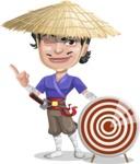 Samurai with Straw Hat Cartoon Vector Character AKA Akechi - Target