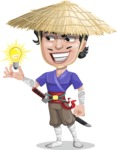 Samurai with Straw Hat Cartoon Vector Character AKA Akechi - Idea 1