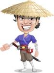 Samurai with Straw Hat Cartoon Vector Character AKA Akechi - Show