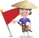 Samurai with Straw Hat Cartoon Vector Character AKA Akechi - Checkpoint