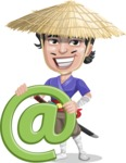 Samurai with Straw Hat Cartoon Vector Character AKA Akechi - E-mail