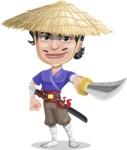 Samurai with Straw Hat Cartoon Vector Character AKA Akechi - Sword 1