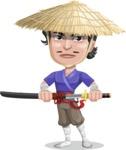 Samurai with Straw Hat Cartoon Vector Character AKA Akechi - Sword 2