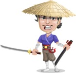 Samurai with Straw Hat Cartoon Vector Character AKA Akechi - Sword 3
