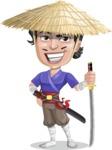 Samurai with Straw Hat Cartoon Vector Character AKA Akechi - Sword 4