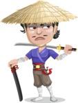 Samurai with Straw Hat Cartoon Vector Character AKA Akechi - Sword 5