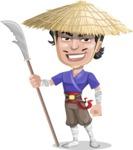Samurai with Straw Hat Cartoon Vector Character AKA Akechi - Spear 1