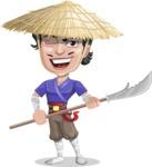 Samurai with Straw Hat Cartoon Vector Character AKA Akechi - Spear 2