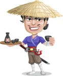 Samurai with Straw Hat Cartoon Vector Character AKA Akechi - Sake