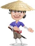 Samurai with Straw Hat Cartoon Vector Character AKA Akechi - Show 2
