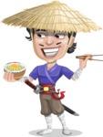 Samurai with Straw Hat Cartoon Vector Character AKA Akechi - Rice bowl