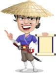 Samurai with Straw Hat Cartoon Vector Character AKA Akechi - Scroll