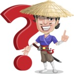 Samurai with Straw Hat Cartoon Vector Character AKA Akechi - Question