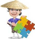 Samurai with Straw Hat Cartoon Vector Character AKA Akechi - Puzzle