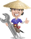 Samurai with Straw Hat Cartoon Vector Character AKA Akechi - Repair
