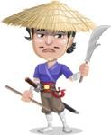 Samurai with Straw Hat Cartoon Vector Character AKA Akechi - Under Construction