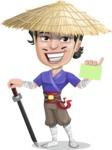 Samurai with Straw Hat Cartoon Vector Character AKA Akechi - Sign 1