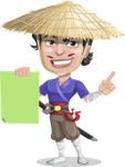 Samurai with Straw Hat Cartoon Vector Character AKA Akechi - Sign 2
