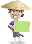 Samurai with Straw Hat Cartoon Vector Character AKA Akechi - Sign 3
