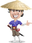 Samurai with Straw Hat Cartoon Vector Character AKA Akechi - Point