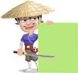 Samurai with Straw Hat Cartoon Vector Character AKA Akechi - Sign 7