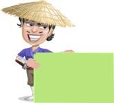 Samurai with Straw Hat Cartoon Vector Character AKA Akechi - Sign 8