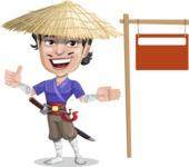 Samurai with Straw Hat Cartoon Vector Character AKA Akechi - Sign 9