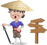 Samurai with Straw Hat Cartoon Vector Character AKA Akechi - Crossroad