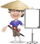 Samurai with Straw Hat Cartoon Vector Character AKA Akechi - Presentation 1