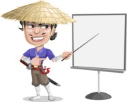 Samurai with Straw Hat Cartoon Vector Character AKA Akechi - Presentation 2