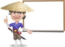 Samurai with Straw Hat Cartoon Vector Character AKA Akechi - Presentation 3
