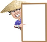 Samurai with Straw Hat Cartoon Vector Character AKA Akechi - Presentation 4