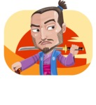 Japanese Samurai Cartoon Vector Character AKA Sakamoto - Shape 2
