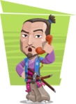 Japanese Samurai Cartoon Vector Character AKA Sakamoto - Shape 5