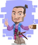 Japanese Samurai Cartoon Vector Character AKA Sakamoto - Shape 8