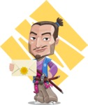 Japanese Samurai Cartoon Vector Character AKA Sakamoto - Shape 9