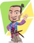 Japanese Samurai Cartoon Vector Character AKA Sakamoto - Shape 12