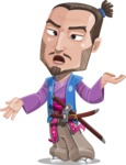 Japanese Samurai Cartoon Vector Character AKA Sakamoto - Confused