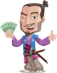 Japanese Samurai Cartoon Vector Character AKA Sakamoto - Show me the money