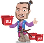 Japanese Samurai Cartoon Vector Character AKA Sakamoto - Sale