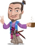 Japanese Samurai Cartoon Vector Character AKA Sakamoto - Coffee