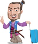 Japanese Samurai Cartoon Vector Character AKA Sakamoto - Travel