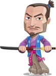 Japanese Samurai Cartoon Vector Character AKA Sakamoto - Sword 3