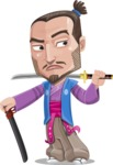 Japanese Samurai Cartoon Vector Character AKA Sakamoto - Sword 6