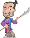 Japanese Samurai Cartoon Vector Character AKA Sakamoto - Spear 2