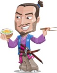 Japanese Samurai Cartoon Vector Character AKA Sakamoto - Rice bowl
