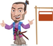 Japanese Samurai Cartoon Vector Character AKA Sakamoto - Sign 9