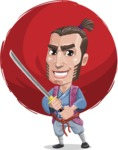 Samurai Warrior Cartoon Vector Character AKA Hattori - Shape 6